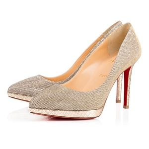 Christian Louboutin Pigalle Plato Silver Heels 37